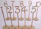 Tischnummer 1-10 aus Holz