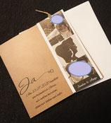 Einladungskarte mit Fotoanhänger