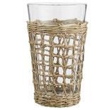 IB LAURSEN Trinkglas mit Seegrasgeflecht