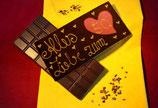 Zartbitter Schokolade mit Beschriftung