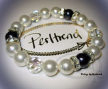 Stretcharmband White-Blue Pearls Crystaly 18