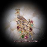 Brosche golden Pfau multicolor