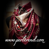 Quadratischer Schal mit Aufdruck Bordeaux Mix102