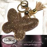 Anhänger Crystals Schmetterling Goldenbeige
