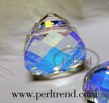 CrystalAB Flat Pear Briolette Pendant 15.4x14