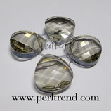 Crystal Silver Shade Flat Pear Briolette Pendant 15.4x14