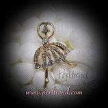 Brosche Crystal Golden Ballerina