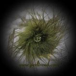 Brosche Federn olivgrün