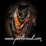 Quadratischer Schal mit Aufdruck Grau Orange Mix105