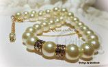 Halskette Big Cream Pearls Golden