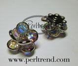 Metal Button kleine Blume Crystal AB 15x8