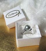 Fingerring Grey Pearl Silver 58