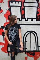 Damen T-Shirt schwarz/weiß