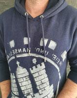 Unisex Hoodie dunkelblau/weiß