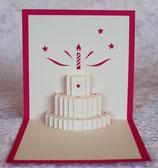 Gateau d'anniversaire coloris rose et ivoire