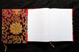 Cahier en tissu or - bordeaux
