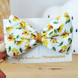 Grande barrette 10 imprimé fleurs jaunes
