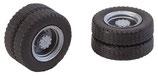 Faller  163101 2 Kompletträder (Zwillingsbereifung), Reifen und LKW Felgen