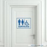 Servicios - Placa de hombre, mujer y minusválidos.