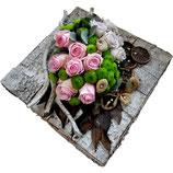 Tinten van roze op schors 35 x 35 cm