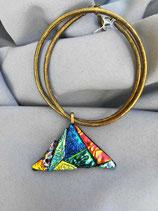 Pendentif en verre dichroïque triangle n°11