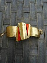 Bracelet articulé métal  et verre dichroïque N° 2