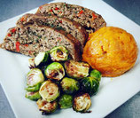 Turkey Meatloaf & Gravy with Mixed Roasted Vegetables- P