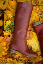 Коричневые сапоги из фактурной коричневой кожи - 30% СКИДКА!!!