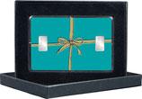 Geschenk-Farbe mint- mit goldener Schleife und mit zwei Silberbarren ab 1 g  -  M13S2