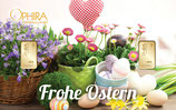 Geschenkbarren Frohe Ostern mit  zwei Goldbarren M1G2