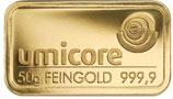 Goldbarren 50 Gramm 999,9 mit Karte
