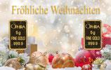 Fröhliche Weihnachten mit 2 Goldbarren - Kugeln und Geschenke im Schnee - M9G2