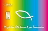 Herzlichen Glückwunsch zur Kommunion mit einem Goldbarren ab 0,1 Gramm M5G1