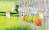 Geschenkbarren Frohe Ostern mit  zwei Goldbarren M4G2