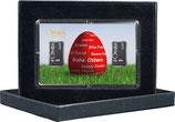 Rotes Osterei mit zwei Silberbarren ab 1 Gramm M3S2