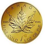 Maple Leaf- eine Feinunze, 1/2 Feinunze,1/4 Feinunze,  1/10 Feinunze und 1/25 Feinunze.