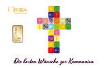 Die besten Wünsche zur Kommunion mit einem Goldbarren ab 0,1 Gramm -Kreuz weiß- M4G1