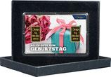 Geschenk und Rosen mit zwei Goldbarren ab 0,10 Gramm M8G2