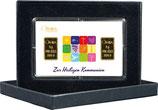 Zur Heiligen Kommunion mit zwei Goldbarren ab 0,1 Gramm -Symbole weiß- M2G2