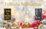 Fröhliche Weihnachten mit Gold und Silber Kugeln und Geschenke im Schnee -M9GS