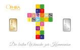 Die besten Wünsche zur Kommunion mit einem Goldbarren und einem Silberbarren M4GS