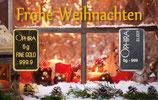 Frohe Weihnachten mit Gold und Silber -Kerze am Fenster - M6GS