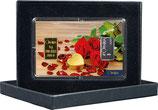 Rosen und Herz mit einem Goldbarren ab 0,10 Gramm und einem Silberbarren ab 1 Gramm M2GS