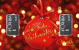 Frohe Weihnachten mit 2 Silberbarren - Rote Kugel - M2S2