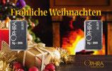 Fröhliche Weihnachten mit 2 Silberbarren - Kerze und Geschenke am Kamin - M4S2
