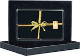 Geschenk schwarz mit goldenem Band mit Kaltfoliendruck veredelt -mit einem Goldbarren ab 0,5 g - M8G1