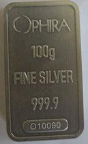 100 g OPHIRA Silberbarren , geprägt, Feinsilber 999,9, mit Serienummer