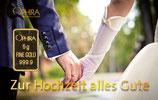 Zur Hochzeit alles Gute mit einem Goldbarren ab 0,10 Gramm -Spaziergang- M6G1