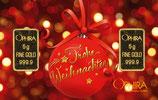 Frohe Weihnachten mit 2 Goldbarren - Rote Kugel -M2G2