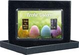 Frohe Ostern mit einem Gold- und einem Silberbarren -Bunte Eier im Gras- M5GS